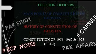 ECP election commission of pakistan election officer constitution of 1956 1962 1973