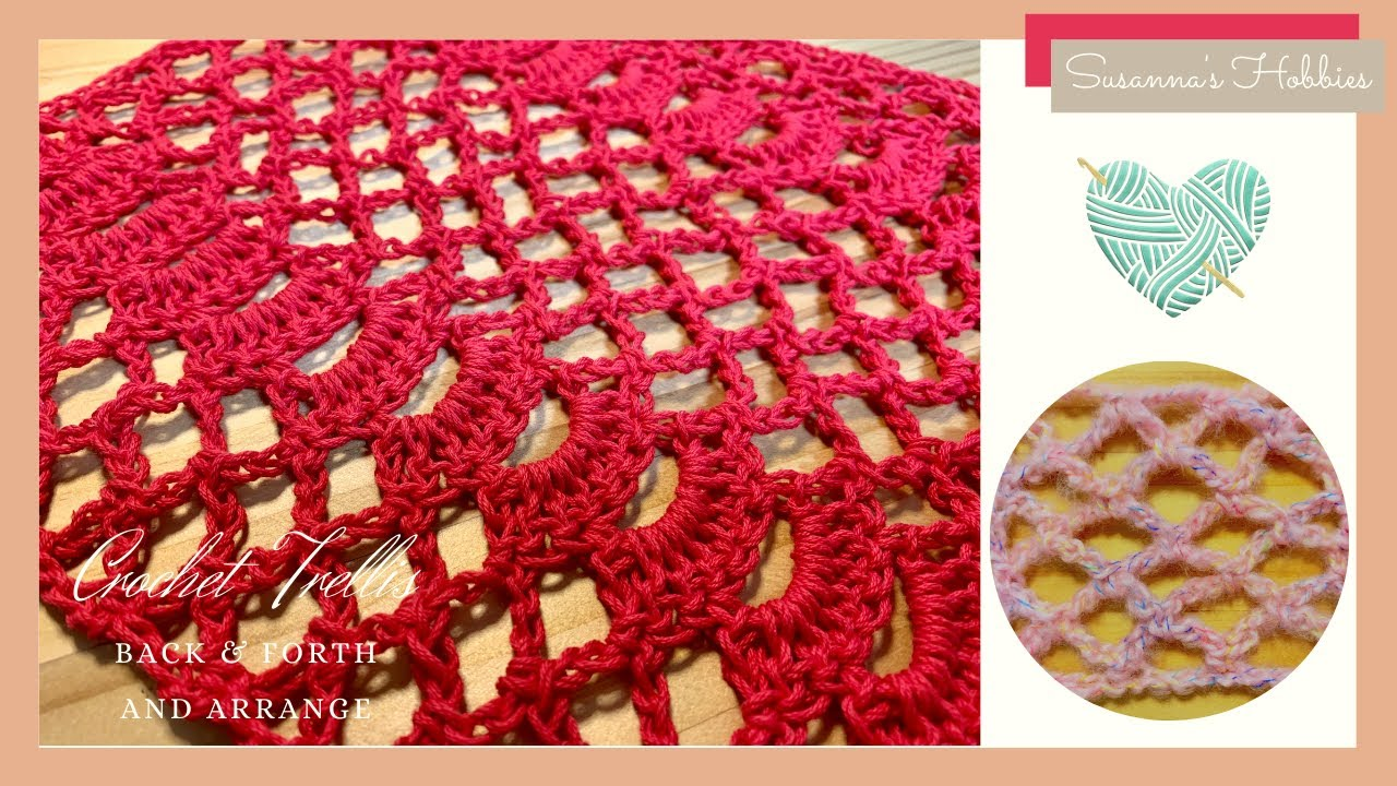 """How to crochet step by step with diagrams """"2 trellis stitches"""" back & forth English tutorial"""
