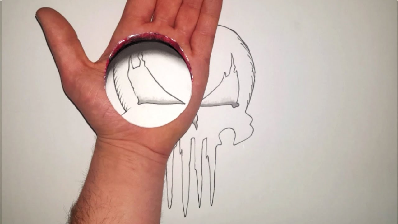 3D Art Trick Illusion  Hole In Hand Punisher Skull  YouTube