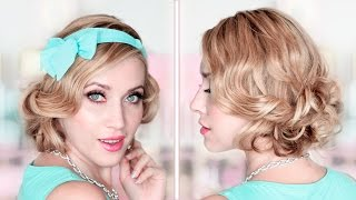 How to fake short hair ❤ CURLY BOB holiday updo hairstyle tutorial ❤ Heatless curls
