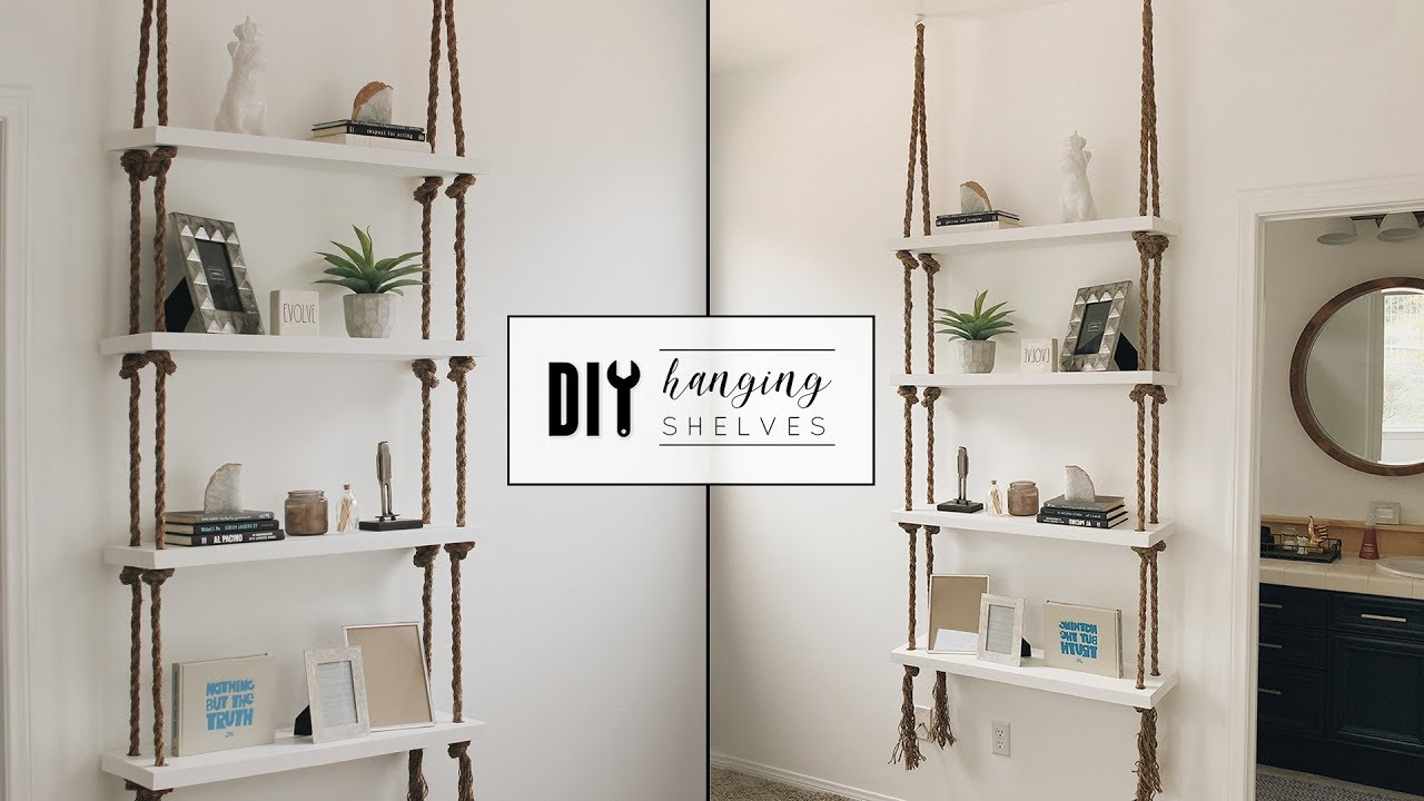 Diy Hanging Rope Shelves Youtube