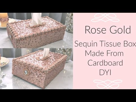 Made From Cardboard Trash Glam Rose Gold Tissue Box Cover DIY How To  #BlingIsMyThing #tissuebox