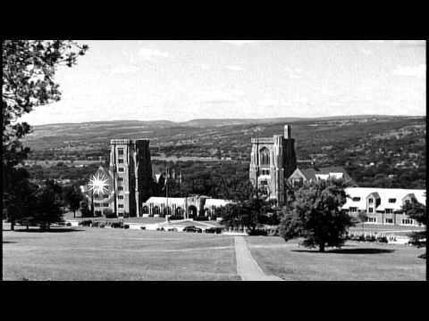 Views of  Cornell University, including statue of founder, Ezra Cornell, on the A...HD Stock Footage