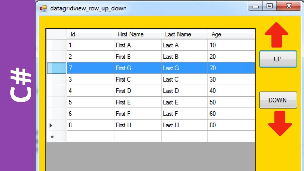 C# - How To Move DataGridView Selected Row UP and DOWN In C# [ with source  code ]