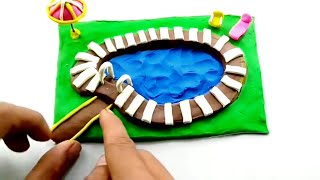 HOW TO MAKE MINIATURE Swimming Pool SUMMER diy craft play doh clay  tutorial