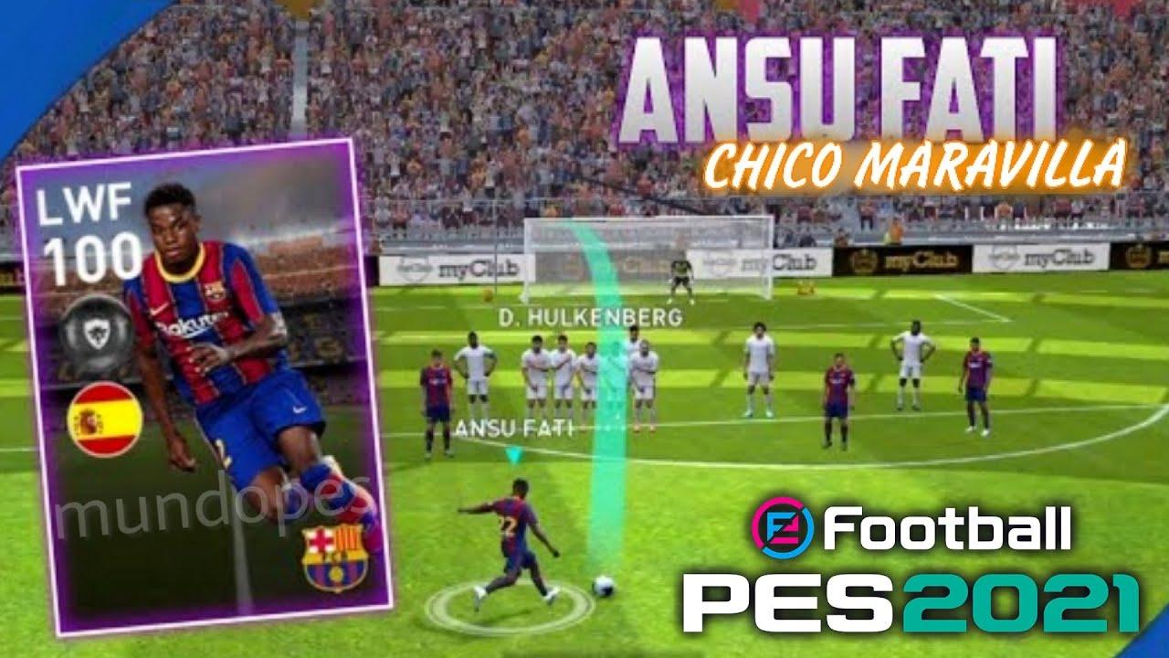 REVIEW COMPLETA de ANSU FATI de 100🔥EL CHICO MARAVILLA😱PES 2021 MOBILE