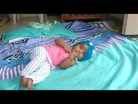 4 Months Old Baby Child Just Try To Flip Turn#kutty Movies #warangal Kutty Video.  .....saanvi Patel