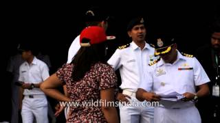 Captain gives safety instructions on board INS Sunayna of Indian Navy