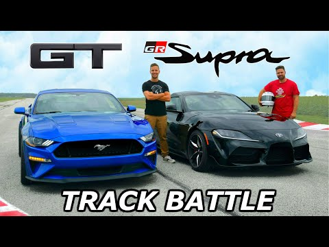 2020 Toyota Supra vs Mustang GT – TRACK REVIEW // DRAG RACE & LAP TIMES