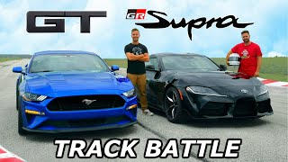 2020 Toyota Supra vs Mustang GT - TRACK REVIEW // DRAG RACE & LAP TIMES