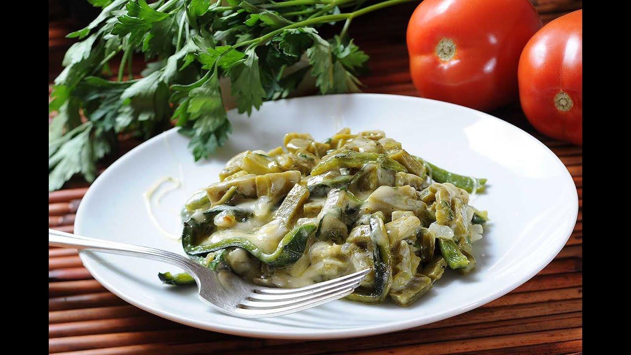 Nopales con chile poblano youtube for Cocinar nopal