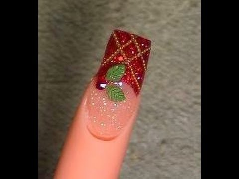 Acrylic Nails Tutorial Christmas Design 1 2010 Youtube