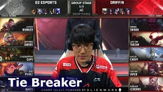G2 vs GRF - Tie Breaker | Day 6 S9 LoL Worlds 2019 Group Stage | G2 eSports vs Griffin