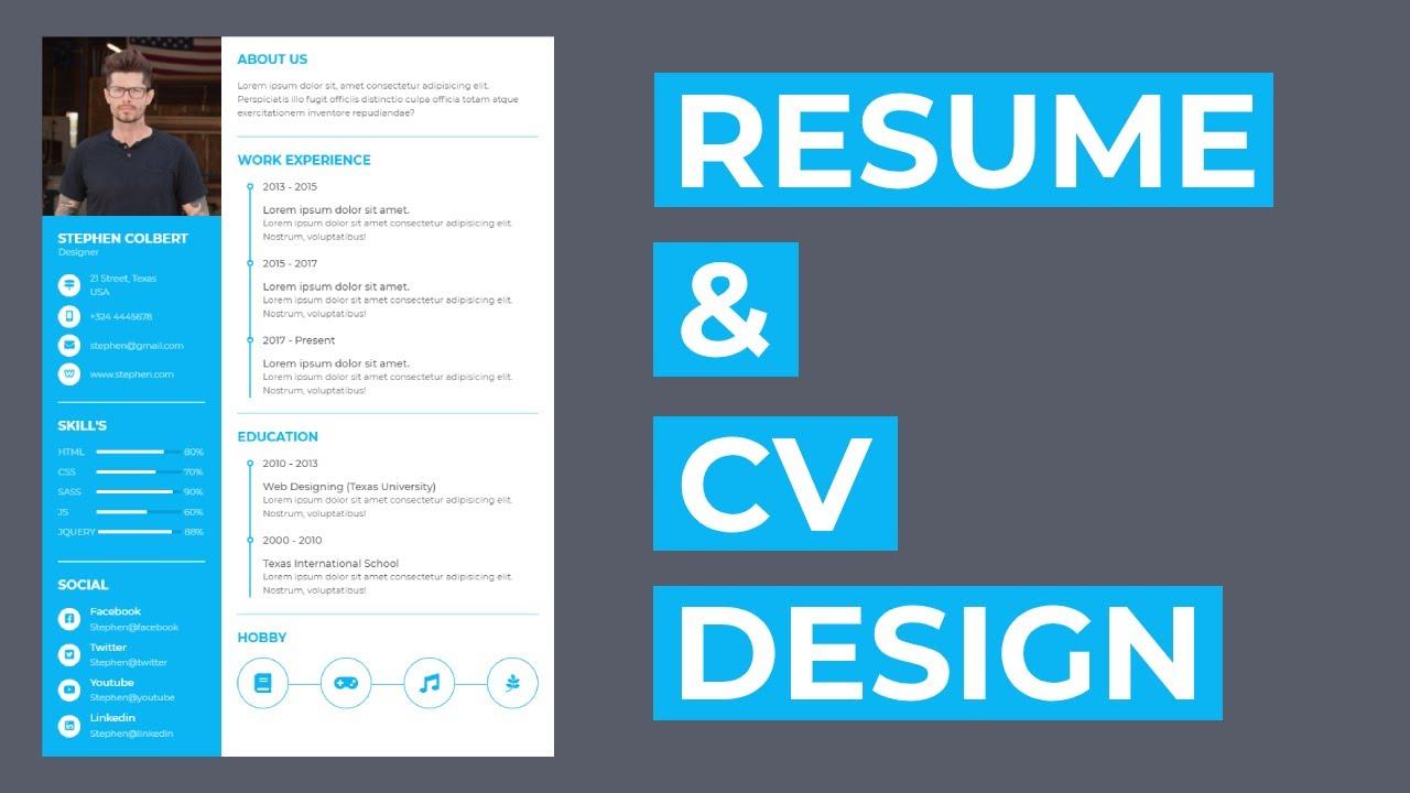 How To Create The Resume Cv Design Using Html And Css Resume Design Cv Design Youtube