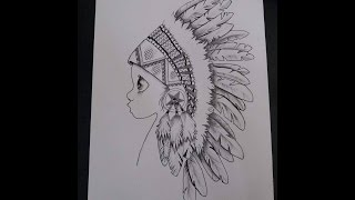 Drawing Time Lapse: Black&White Apache Kid