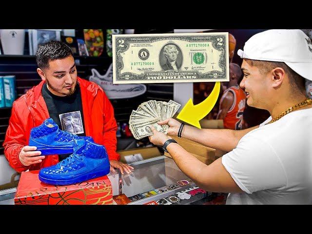 Buying Jordan 2s Using ONLY $2 Bills!