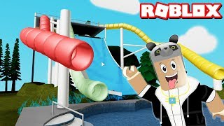 We Went to the World of Water Park!! - Roblox Slide World with Panda!