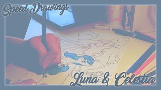 Luna & Celestia [ Celestial . Sisters ] Speed Drawing