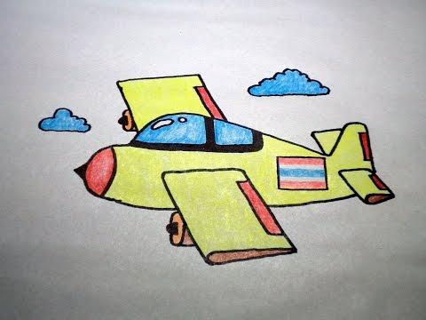 วาดรูป เครื่องบิน สอนวาดรูปการ์ตูนน่ารักง่ายๆ สอนวาดรูปการ์ตูนระบายสี How To Draw Airplane Cartoon