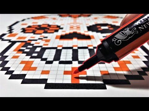 Tête De Mort Mexicaine Dessin Pixel Art Youtube
