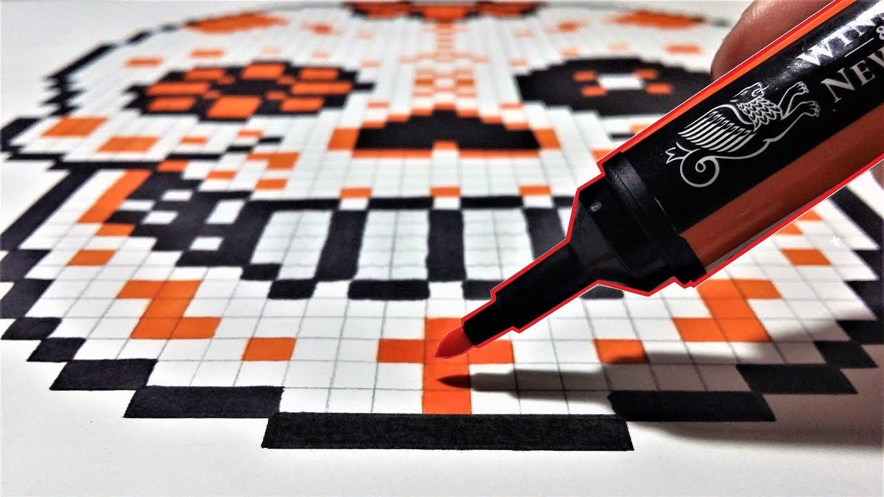 t te de mort mexicaine dessin pixel art youtube. Black Bedroom Furniture Sets. Home Design Ideas
