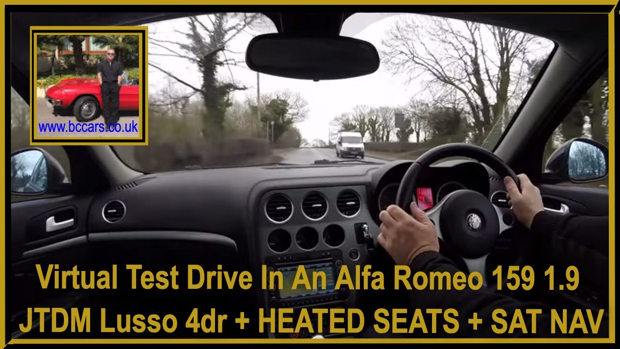 virtual test drive in an alfa romeo 159 1 9jtdm lusso 4dr heated seats sat nav youtube. Black Bedroom Furniture Sets. Home Design Ideas