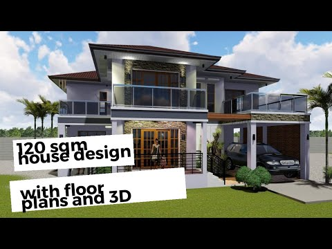 Two Storey Residential House With Floor Plans 120 Sqm 3d