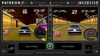 Tokyo Highway Battle (Sega Saturn vs Playstation) Side by Side Comparison