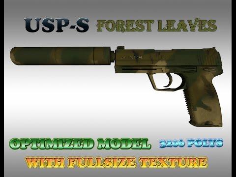 CS:GO USP - S FOREST LEAVES HD skin for CS 1.6