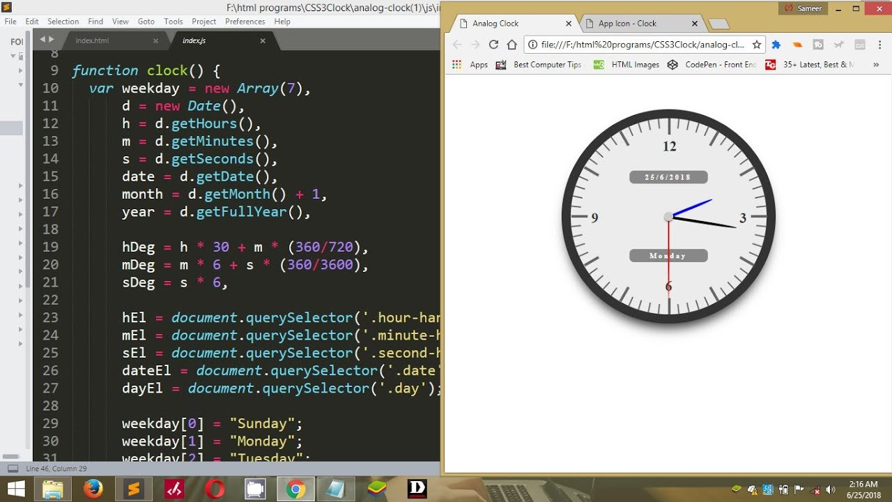 Analog Clock Using Html,CSS and JavaScript || The Solution Hub