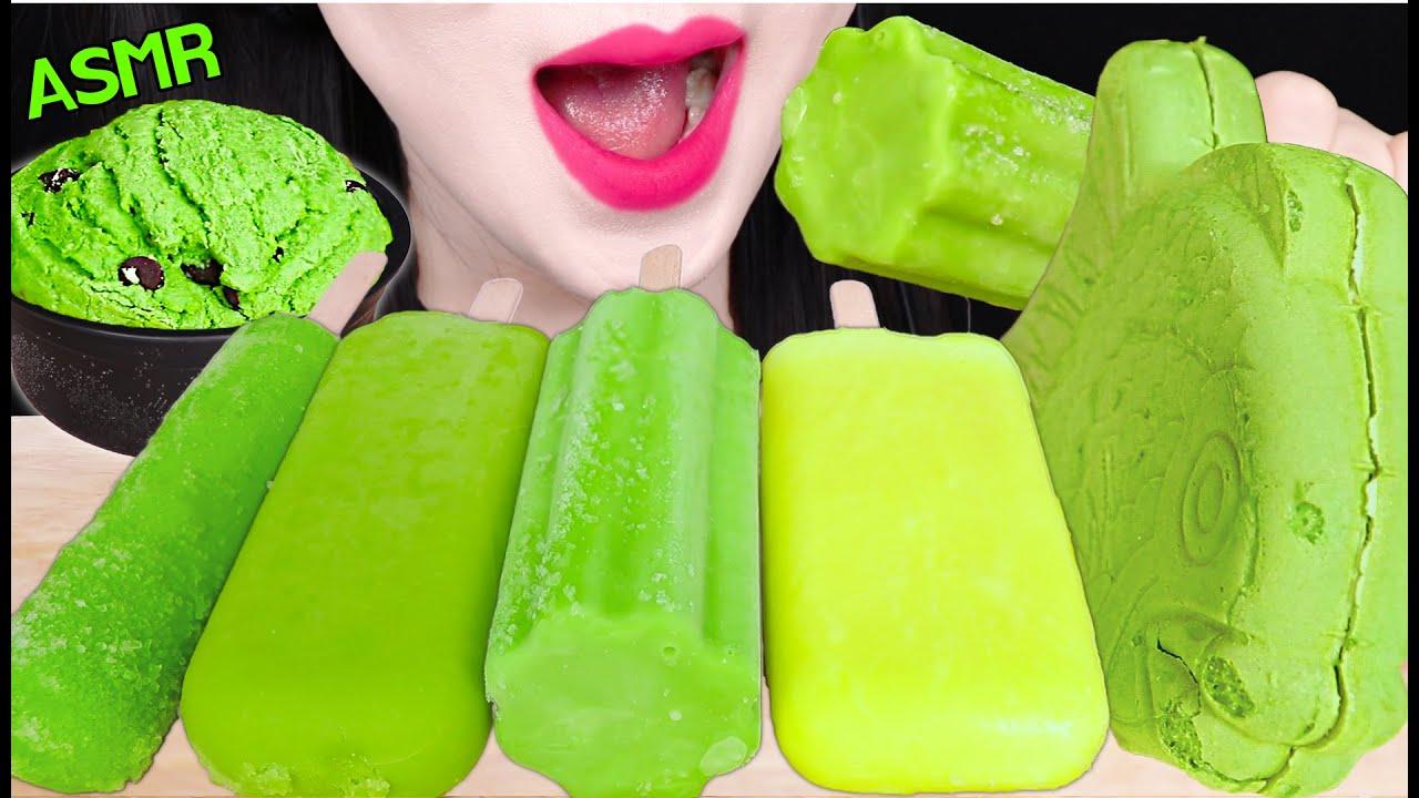 ASMR GREEN ICE CREAM *GREEN TEA ICE CREAM BAR, CHOCOLATE ICE CREAM 녹차 아이스크림 먹방 EATING SOUNDS