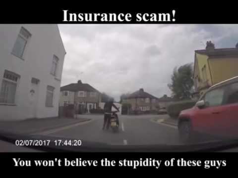 DASH-SCAM Dashcam footage reveals bizarre moment biker rams moped into car