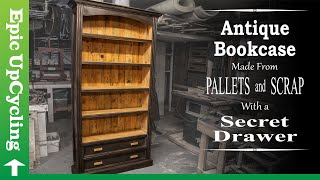 Antique Bookcase With a Secret Drawer Made From Pallet Wood and Junk