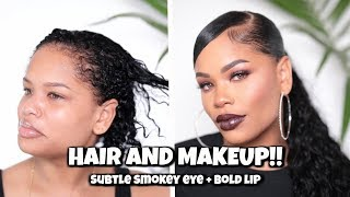 SLEEK PONYTAIL W/ BANGS + Subtle Smokey Eye & BOLD Lip | ft Mi Lisa Hair | Arnell Armon