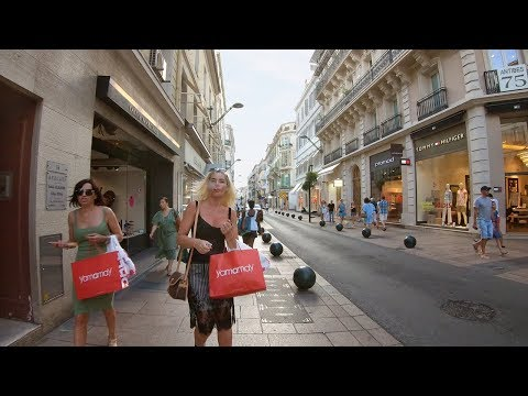 Walking Cannes, France - Main Shopping & Restaurant Streets to Night Market & Beach