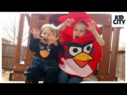 Angry Birds in Real Life Backyard Game + Angry Birds Movie Toy Hunt | KIDCITY