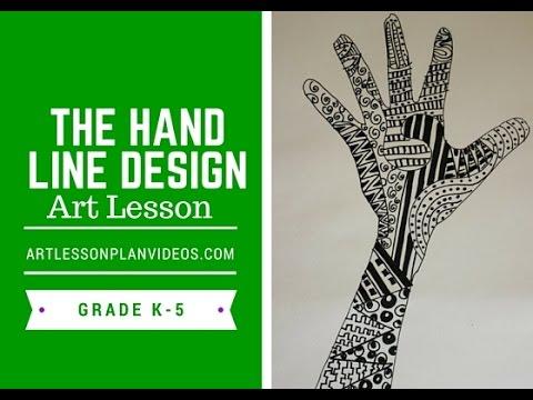 elementary art lesson the hand line design youtube