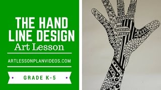 Elementary Art Lesson: The Hand Line Design