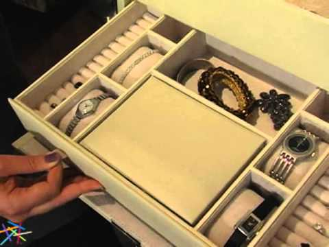 Holden Extra Large Bonded Leather Jewelry Box Ivory 16 5W x 10H in
