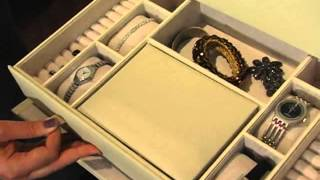 Holden Extra Large Bonded Leather Jewelry Box Ivory 16 5w X 10h In - Product Review Video