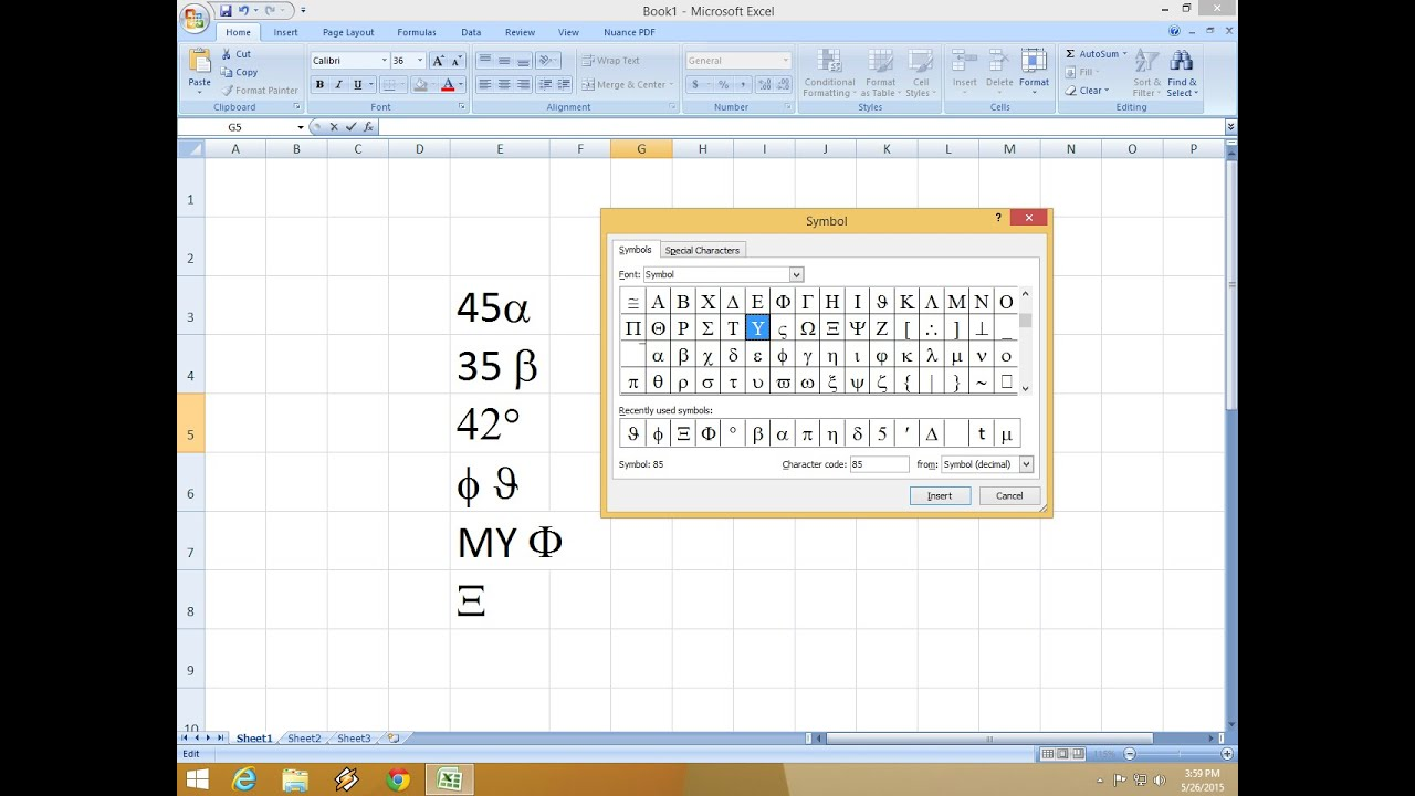 Shortcut Key For Insert Symbol In Ms Excel Youtube