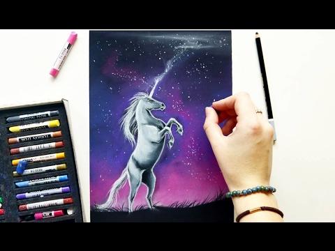 pastel-drawing:-unicorn-and-a-night-sky-|-leontine-van-vliet
