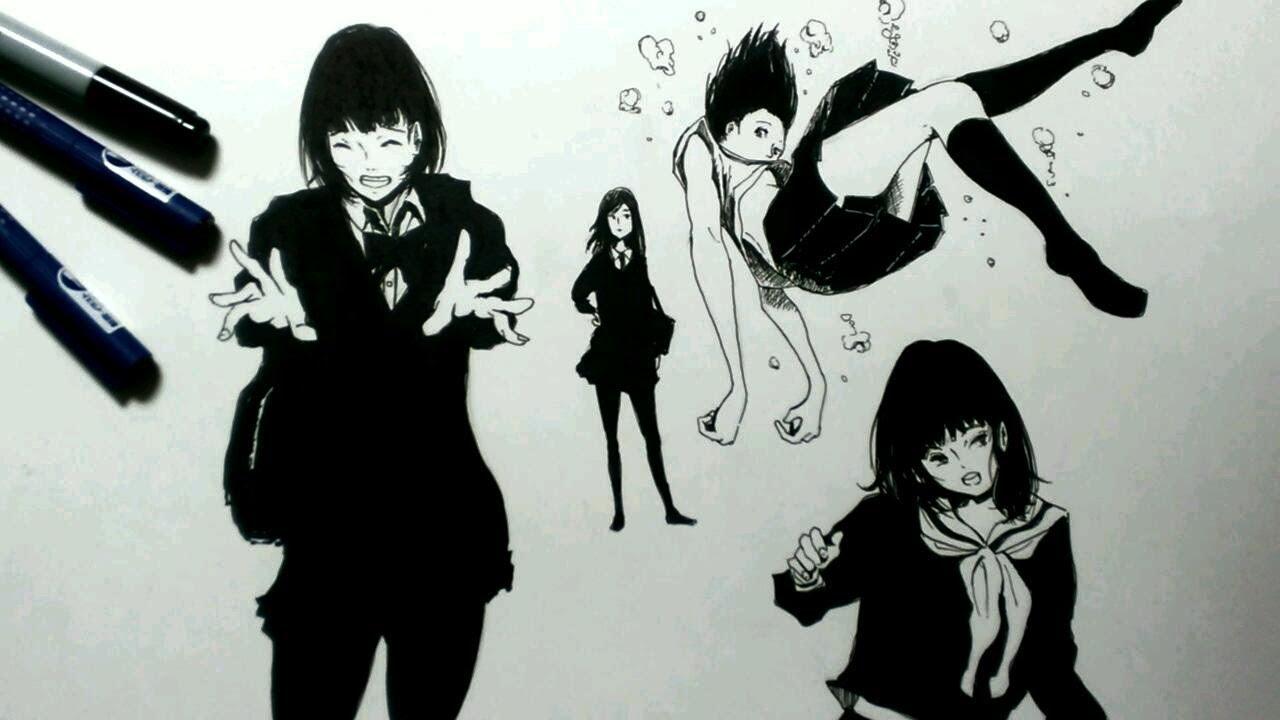 コピック女の子4人描いてみた 両手でドン線画 Youtube