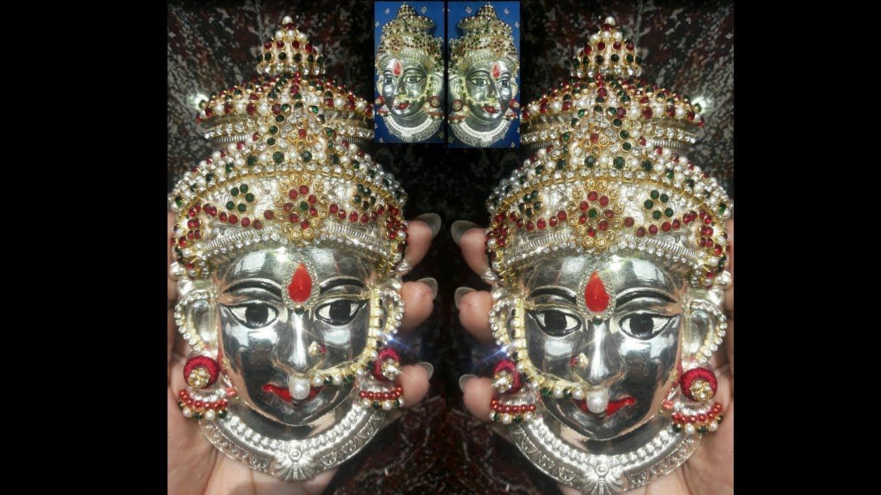 Lakshmi idol face decorated with stones (varamahalakshmi) Demo by Bindu    DIY  