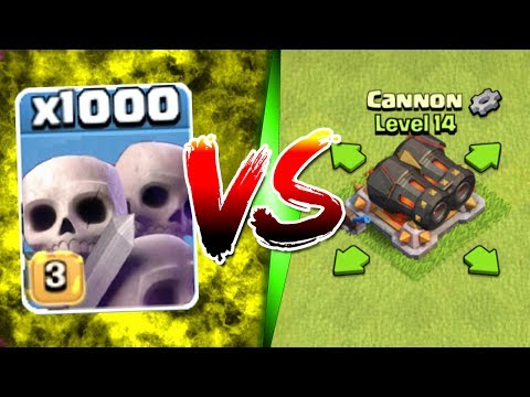 1000 SKELETONS vs GEARED CANNON!! - Clash Of Clans MASS TROOP / TROLL GAME PLAY!