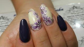 Дизайн ногтей. Хрустальные цветы 2. китайская роспись