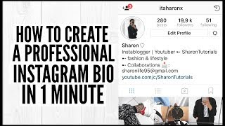 HOW TO CREATE A PROFESSIONAL INSTAGRAM BIO IN 1 MINUTE