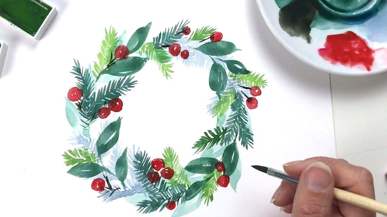 Christmas Wreath | WATERCOLOR - YouTube
