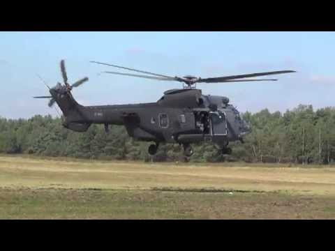 Training flights and lowpass RNLAF Eurocopter AS532 Cougar at Arnhemse Heide