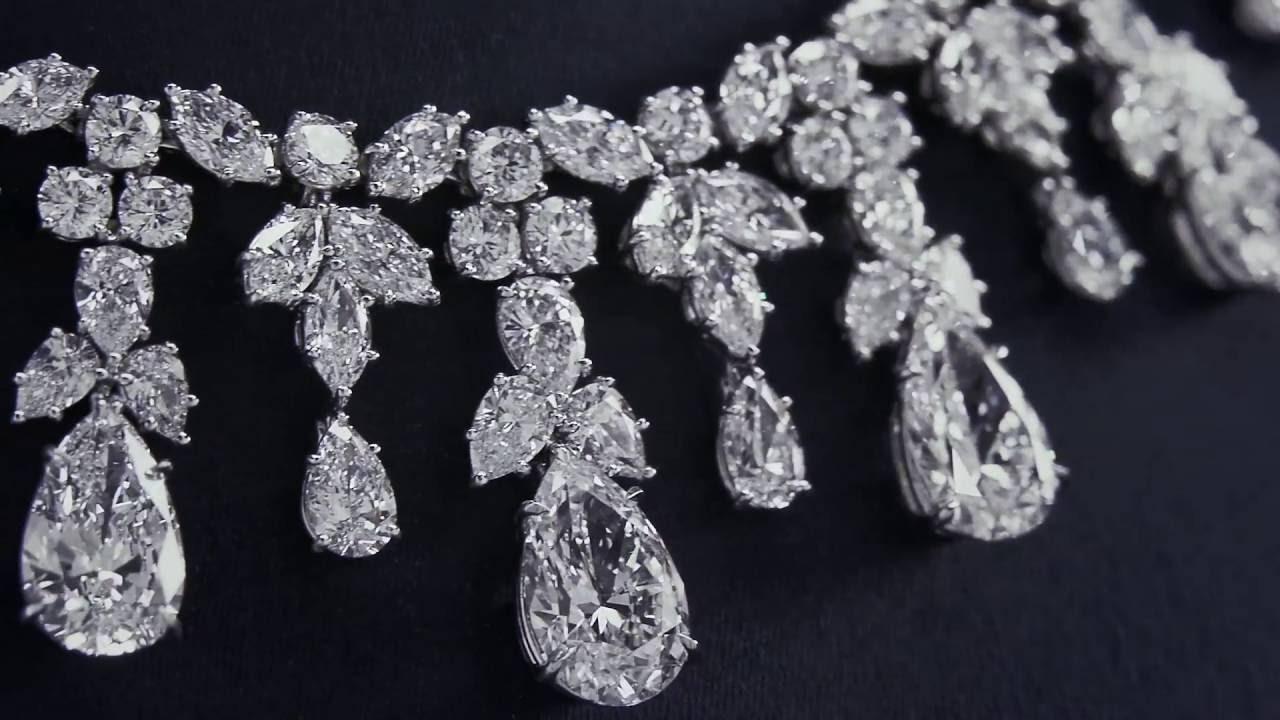 Harry winston cascading diamond drop necklace youtube harry winston cascading diamond drop necklace aloadofball Images